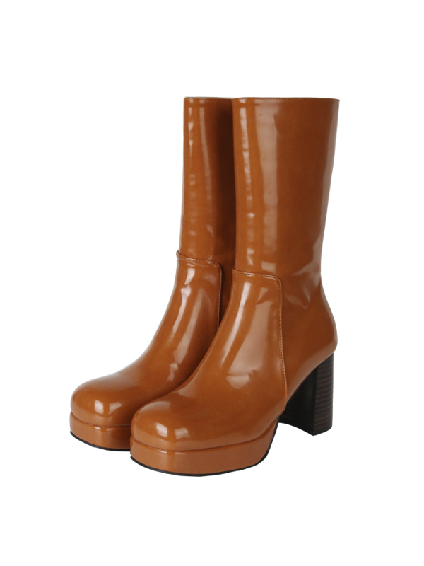 SALE ACIDITY - GLOSSY MIDDLE BOOTS (CAMEL)