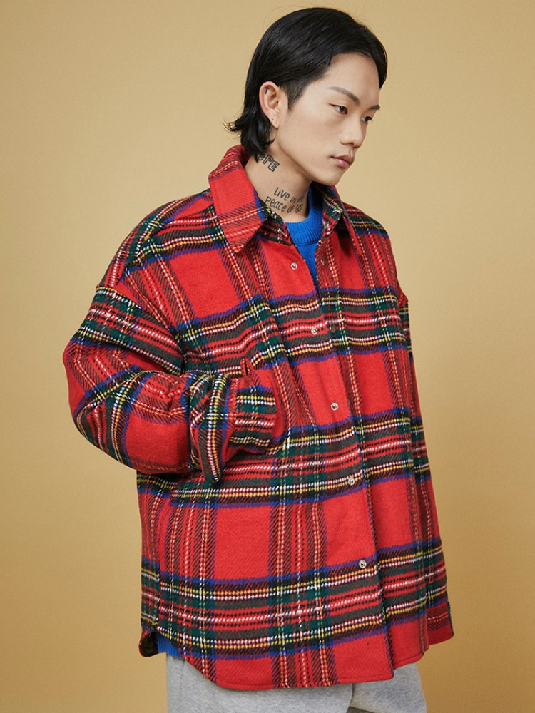 tartan check quilt jacket (3 color) - UNISEX
