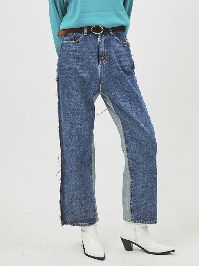 reverse denim wide pants