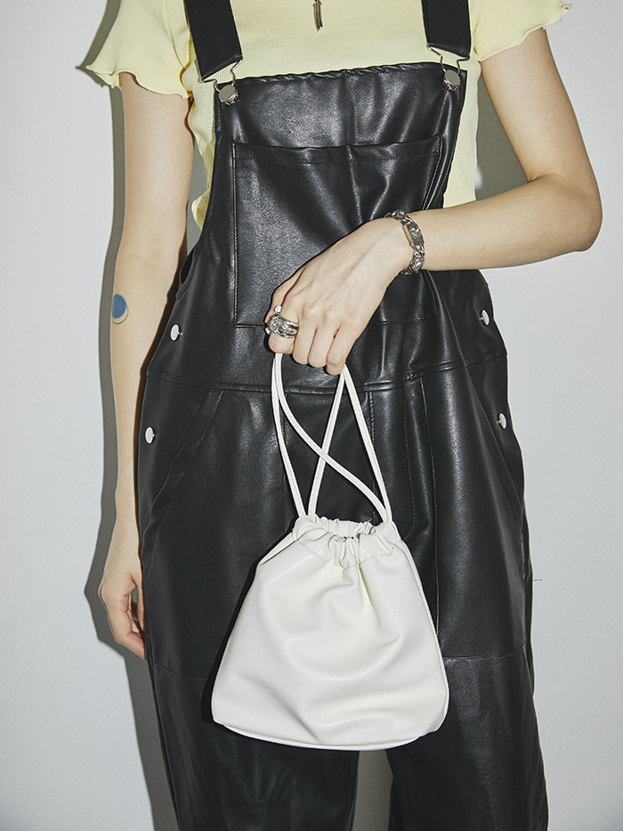 soft leather mini bucket bag (2 color)
