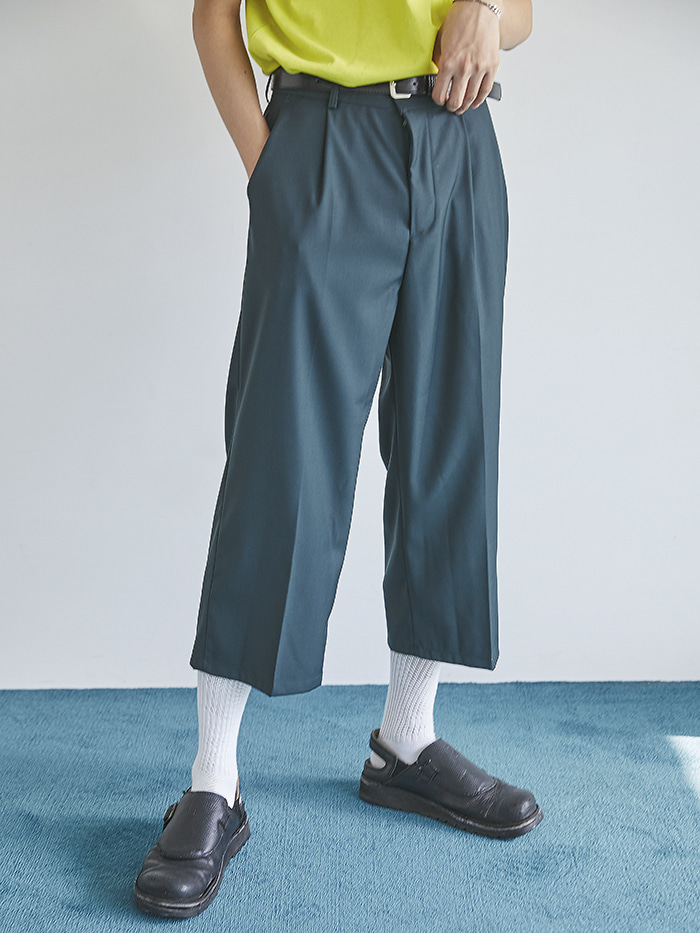 semi wide crop slacks (2 color) - men