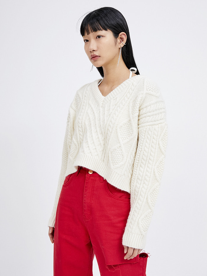 v-neck crop cable knit (3 color) - woman