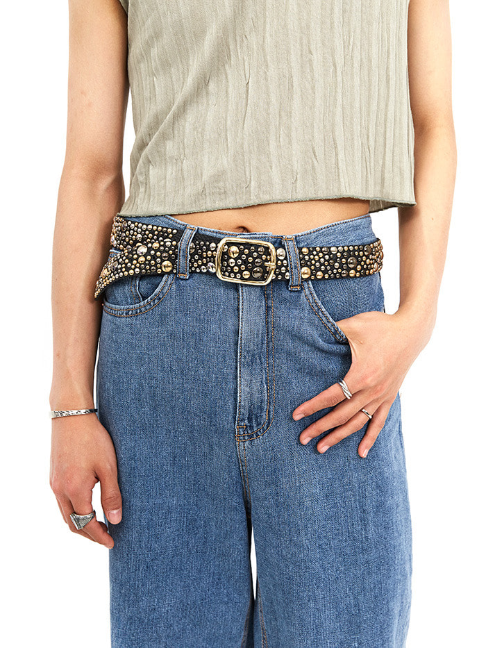 cow hide sparkle belt (3 color)
