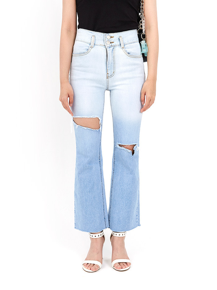 destroyed slim boot-cut denim pants