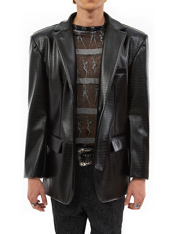 python leather jacket (2 color)