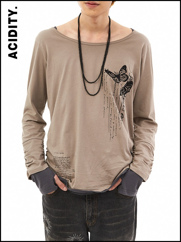 [ACIDTY] layered hand warmer T (beige)
