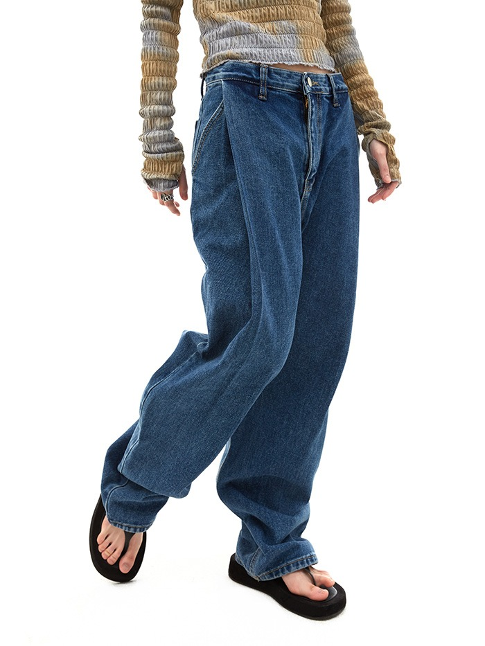 pintuck wide jeans
