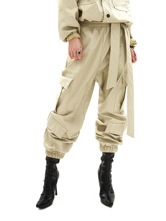 leather jogger pants (2 color)