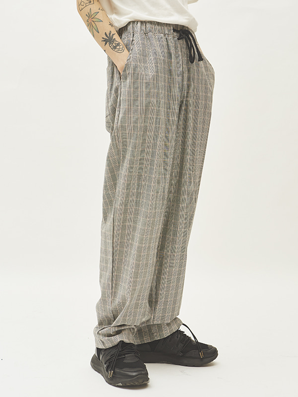 gray check string pants - UNISEX