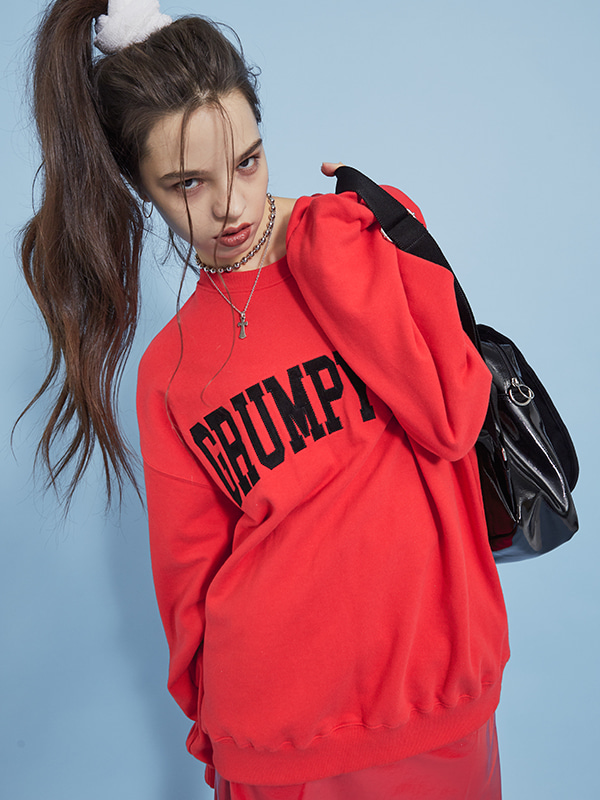 PROJECT - GRUMPY BOY SWEAT SHIRT (RED) - UNISEX
