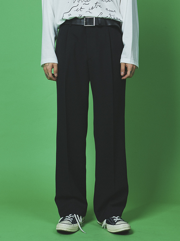 tidy pintuck wide slacks (2 color) - UNISEX
