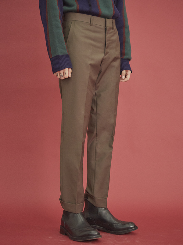 roll-up slim slacks - UNISEX