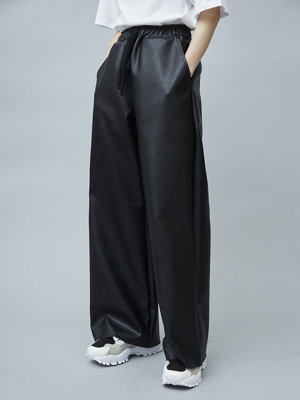 leather wide pants (3 color) - UNISEX