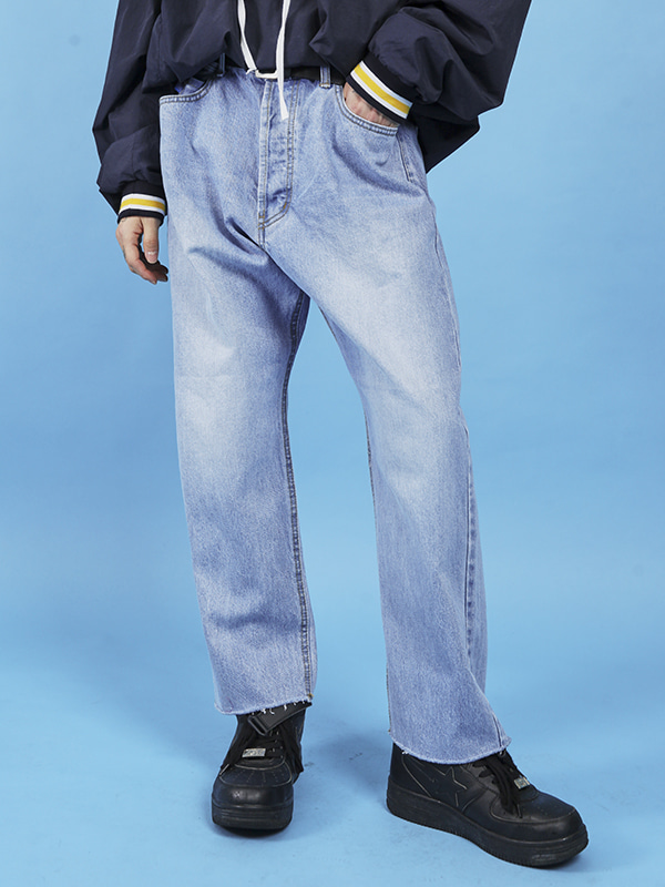 vintage denim wide pants (2 color) - UNISEX