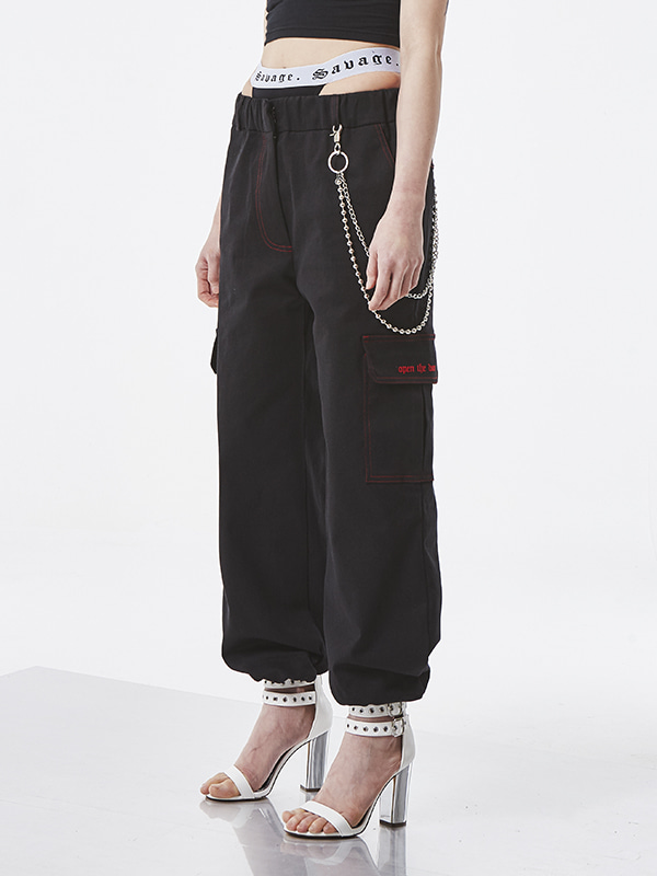 PROJECT - STITCH POCKET PANTS (BLACK) - UNISEX