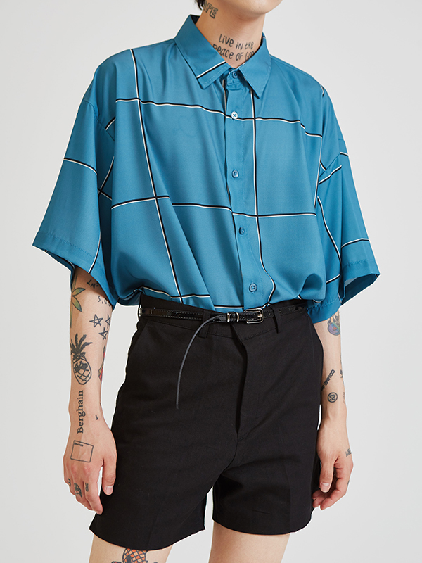 check silk 1/2 shirts (3 color) - UNISEX