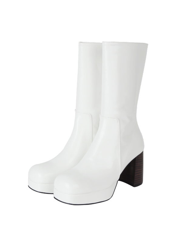 ACIDITY - GLOSSY MIDDLE BOOTS (WHITE)