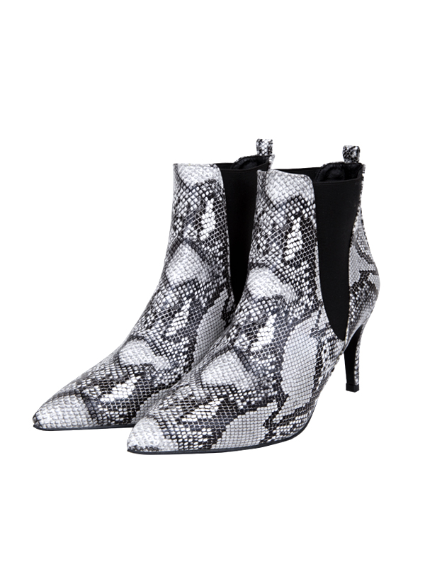 snake leather heel ankle boots